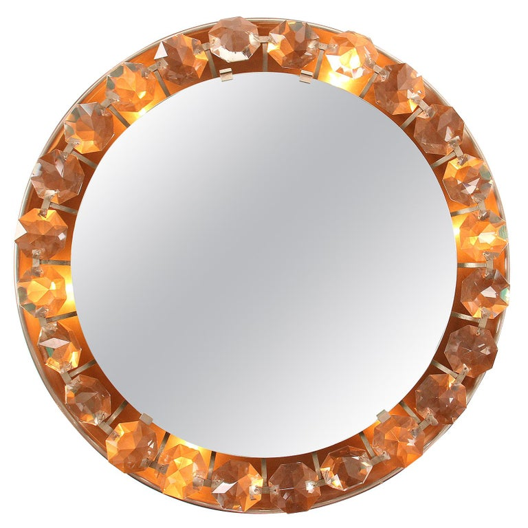 Mid-Century Modern Crystal Wall Mirror For Sale