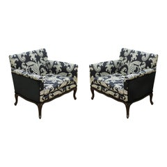 Mid-Century Modern Cube Armchairs in Ralph Lauren Paisley Fabric Upholstery