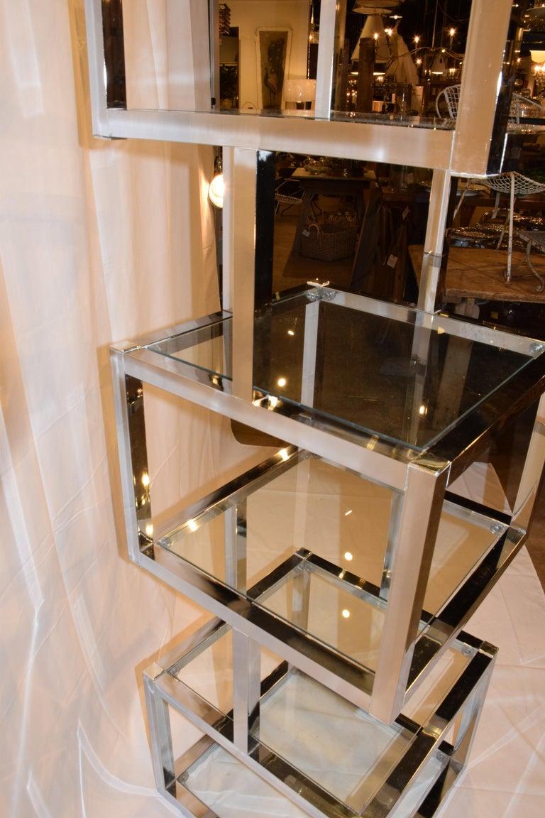 Mid-Century Modern Cube Chrome and Glass Étagère 5