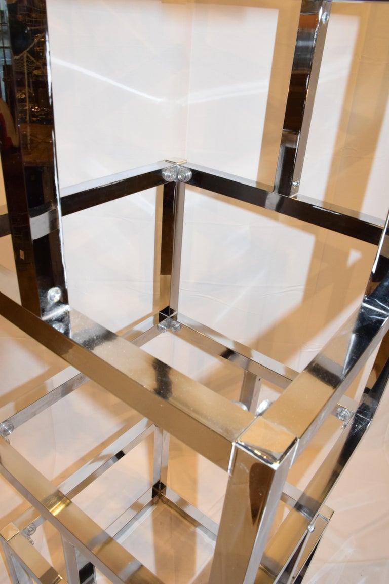 American Mid-Century Modern Cube Chrome and Glass Étagère