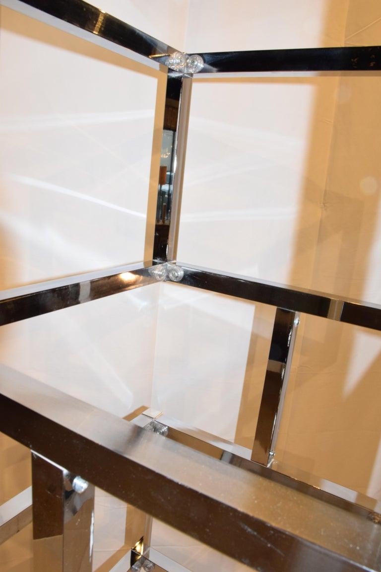 Polished Mid-Century Modern Cube Chrome and Glass Étagère