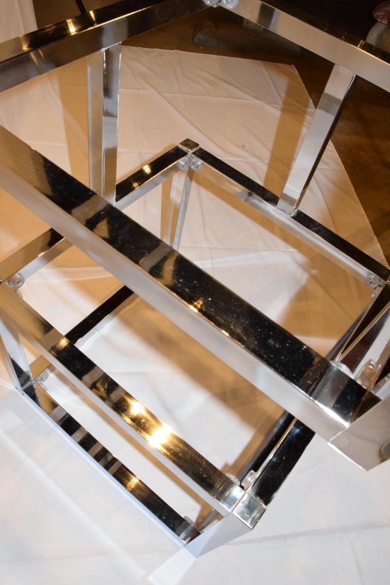 20th Century Mid-Century Modern Cube Chrome and Glass Étagère