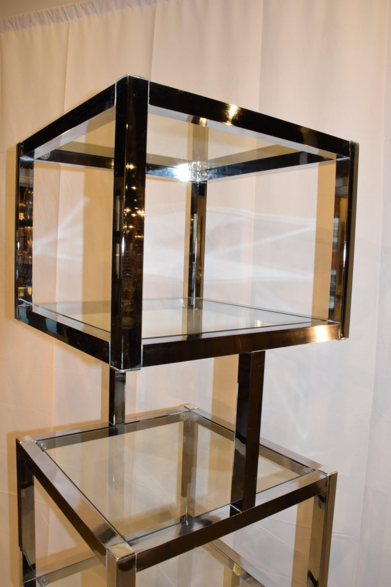 Mid-Century Modern Cube Chrome and Glass Étagère 1