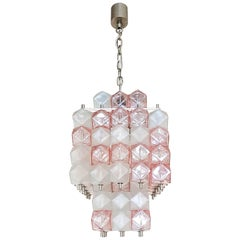Mid-Century Modern Cubic Pink or Clear Murano Glass Chandelier, AV Mazzega Style