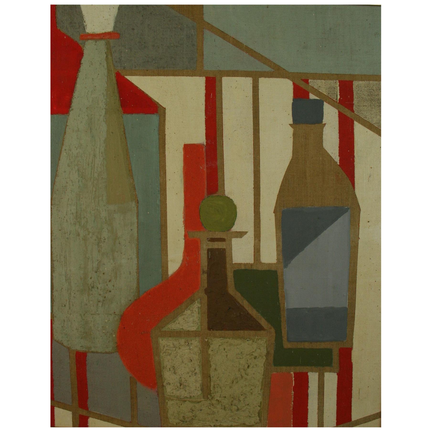 Mid-Century Modern Cubic Still Life Painting