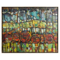 Mid-Century Modern Cubism Oil Painting by Hoffman