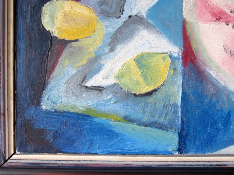 Mid-Century Modern Cubist Oil Painting Signed Dahlquist on Verso Dated, 1950 For Sale 4