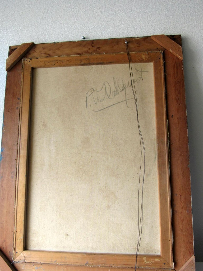 Mid-Century Modern Cubist Oil Painting Signed Dahlquist on Verso Dated, 1950 For Sale 5