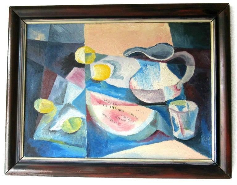 Mid-Century Modern Cubist Oil Painting Signed Dahlquist on Verso Dated, 1950 For Sale 6