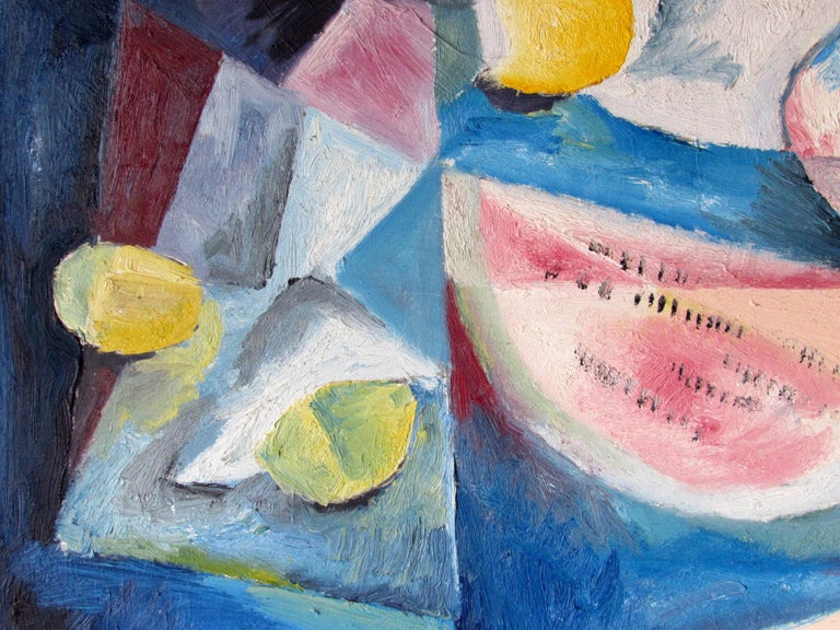 American Mid-Century Modern Cubist Oil Painting Signed Dahlquist on Verso Dated, 1950 For Sale