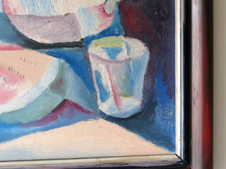20th Century Mid-Century Modern Cubist Oil Painting Signed Dahlquist on Verso Dated, 1950 For Sale