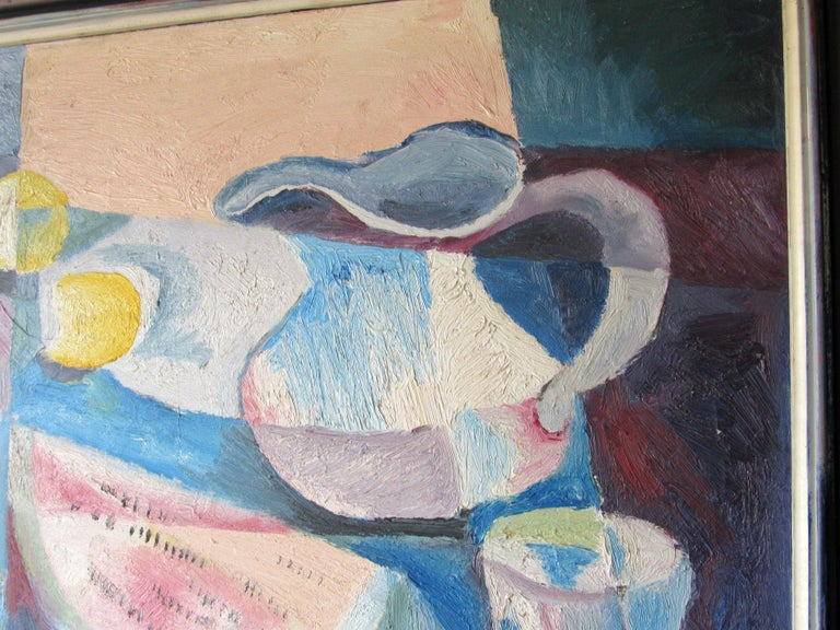 Mid-Century Modern Cubist Oil Painting Signed Dahlquist on Verso Dated, 1950 For Sale 1