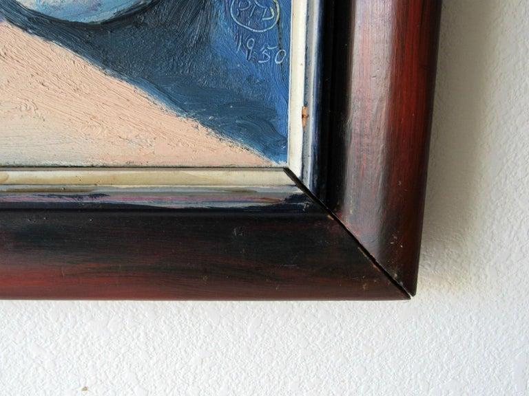 Mid-Century Modern Cubist Oil Painting Signed Dahlquist on Verso Dated, 1950 For Sale 2