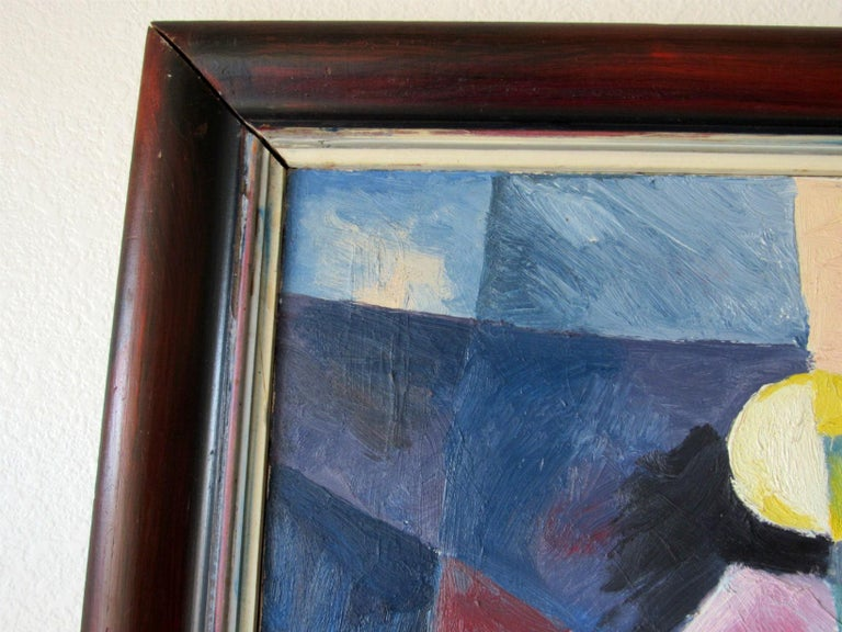 Mid-Century Modern Cubist Oil Painting Signed Dahlquist on Verso Dated, 1950 For Sale 3