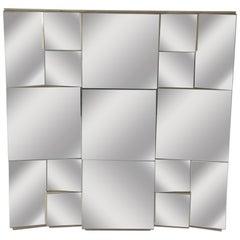 Mid-Century Modern Cubist Slopes Wall Mirror by Neal Small, Hollywood Regency