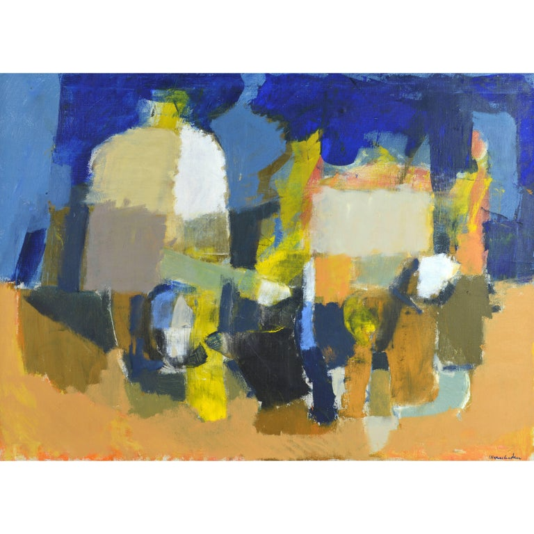 Mid-Century Modern Cubist Style Still Life Original Oil by Stig Wernheden For Sale