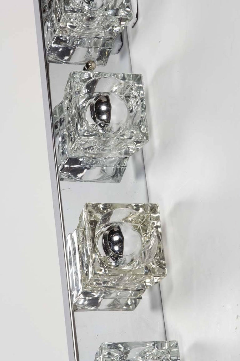 1970s Mid-Century Modern Cubist Wall Light in Chrome by Gaetano Sciolari, Italy For Sale