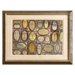 Mid-Century Modern Cubist Watercolor by William Henry Custom Framed