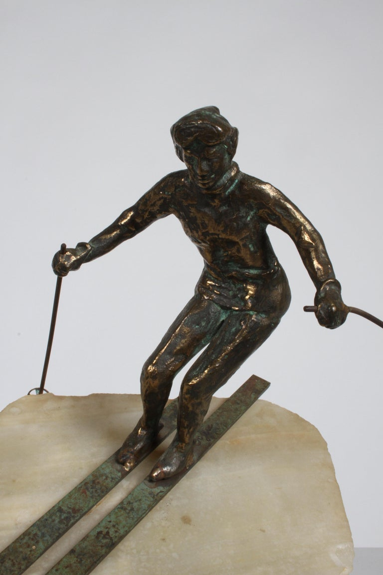 Mid-Century Modern Curtis Jere Bronze Downhill Skier Sculpture on Onyx Base For Sale 5