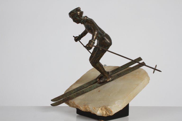 Mid-Century Modern Curtis Jere Bronze Downhill Skier Sculpture on Onyx Base For Sale 7