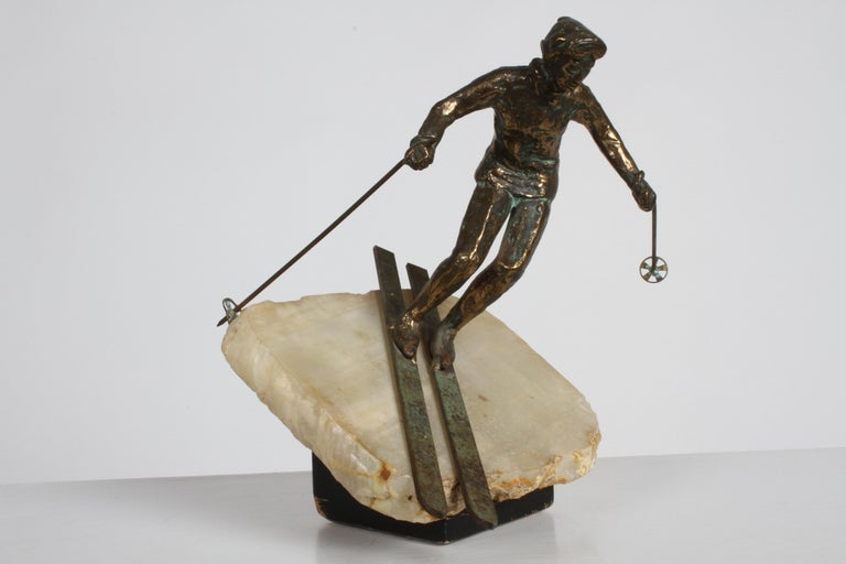 Mid-Century Modern Curtis Jere Bronze Downhill Skier Sculpture on Onyx Base For Sale 8