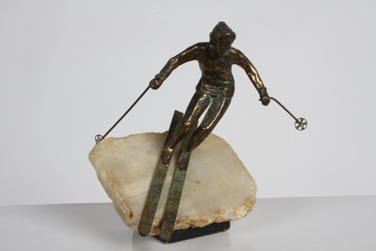 American Mid-Century Modern Curtis Jere Bronze Downhill Skier Sculpture on Onyx Base For Sale