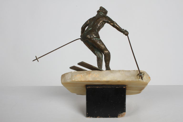 Mid-20th Century Mid-Century Modern Curtis Jere Bronze Downhill Skier Sculpture on Onyx Base For Sale