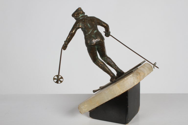 Mid-Century Modern Curtis Jere Bronze Downhill Skier Sculpture on Onyx Base For Sale 1