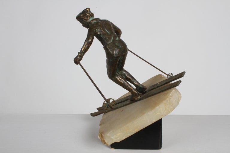 Mid-Century Modern Curtis Jere Bronze Downhill Skier Sculpture on Onyx Base For Sale 2