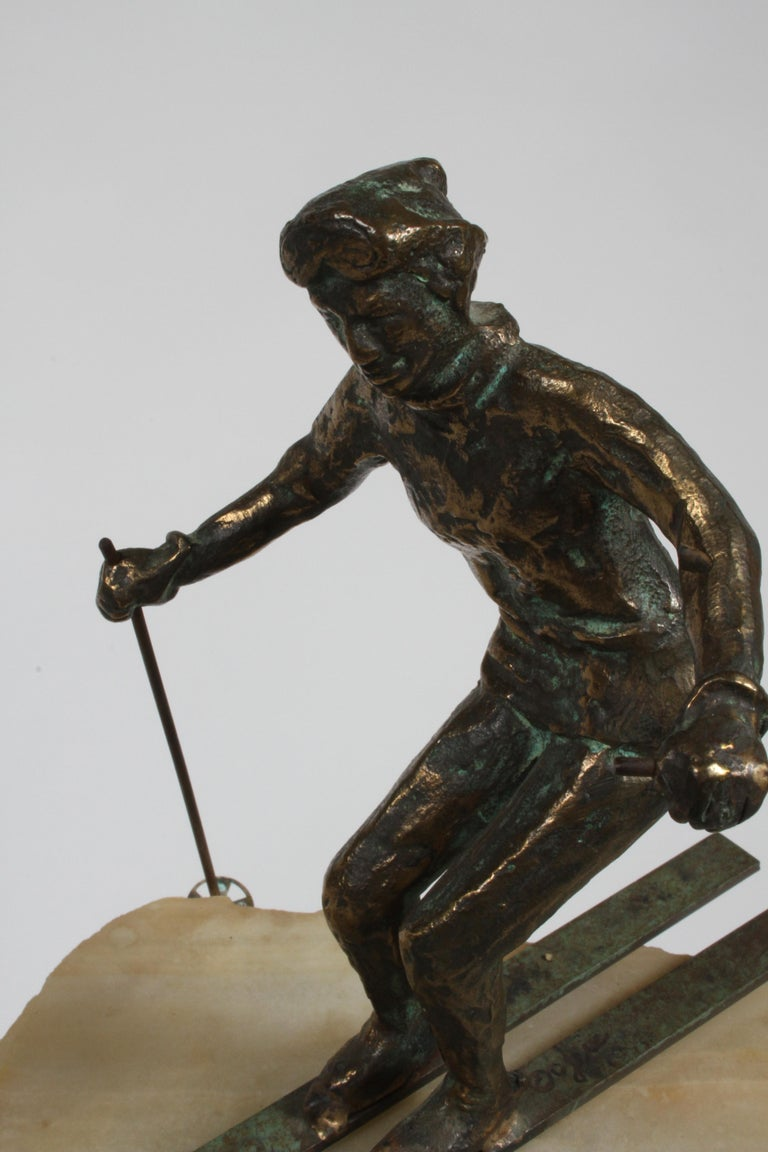 Mid-Century Modern Curtis Jere Bronze Downhill Skier Sculpture on Onyx Base For Sale 4