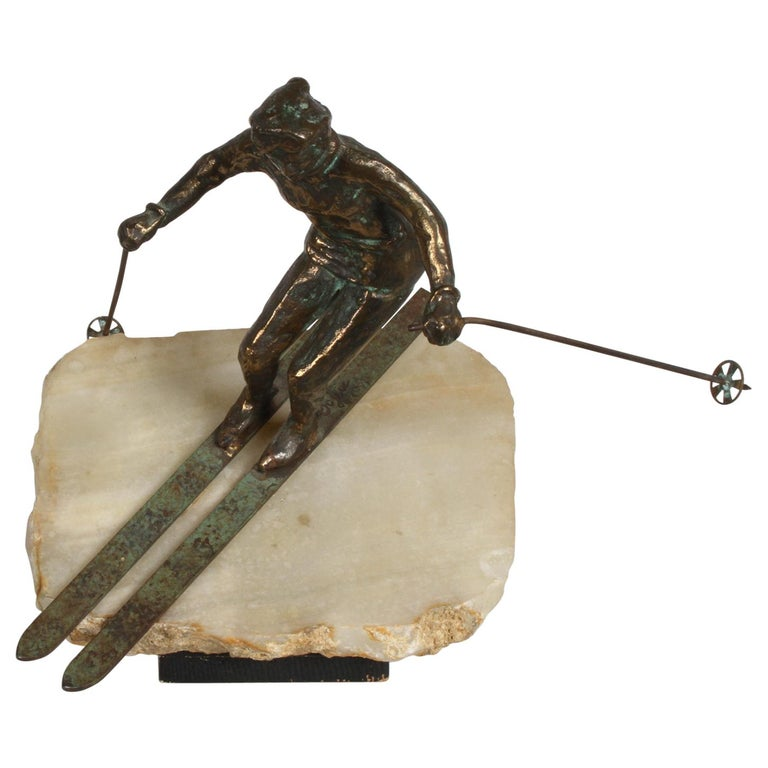 Mid-Century Modern Curtis Jere Bronze Downhill Skier Sculpture on Onyx Base For Sale