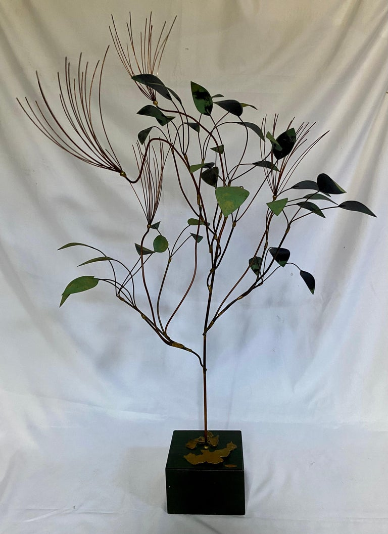 Mid-Century Modern Curtis Jere Brutalist Metal Tree Sculpture, 1960s In Good Condition For Sale In Lambertville, NJ