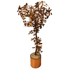 Mid-Century Modern Curtis Jere Brutalist Welded Copper Tree Floor Sculpture