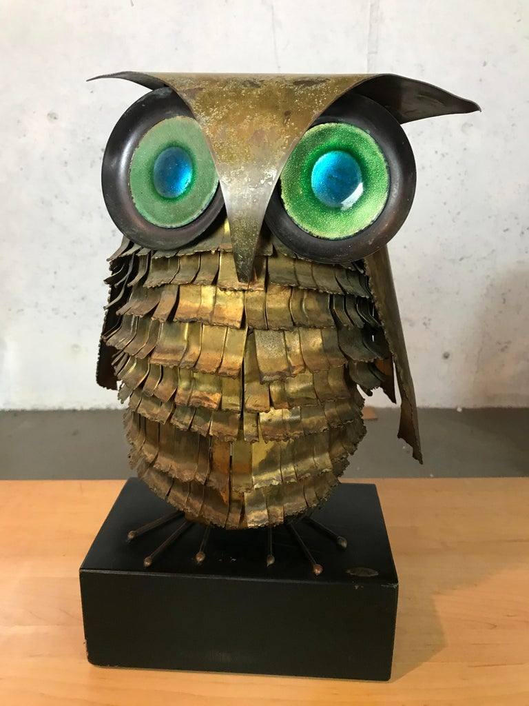 Mid-Century Modern Curtis Jere Large Owl Sculpture Signed, 1967 For Sale 5