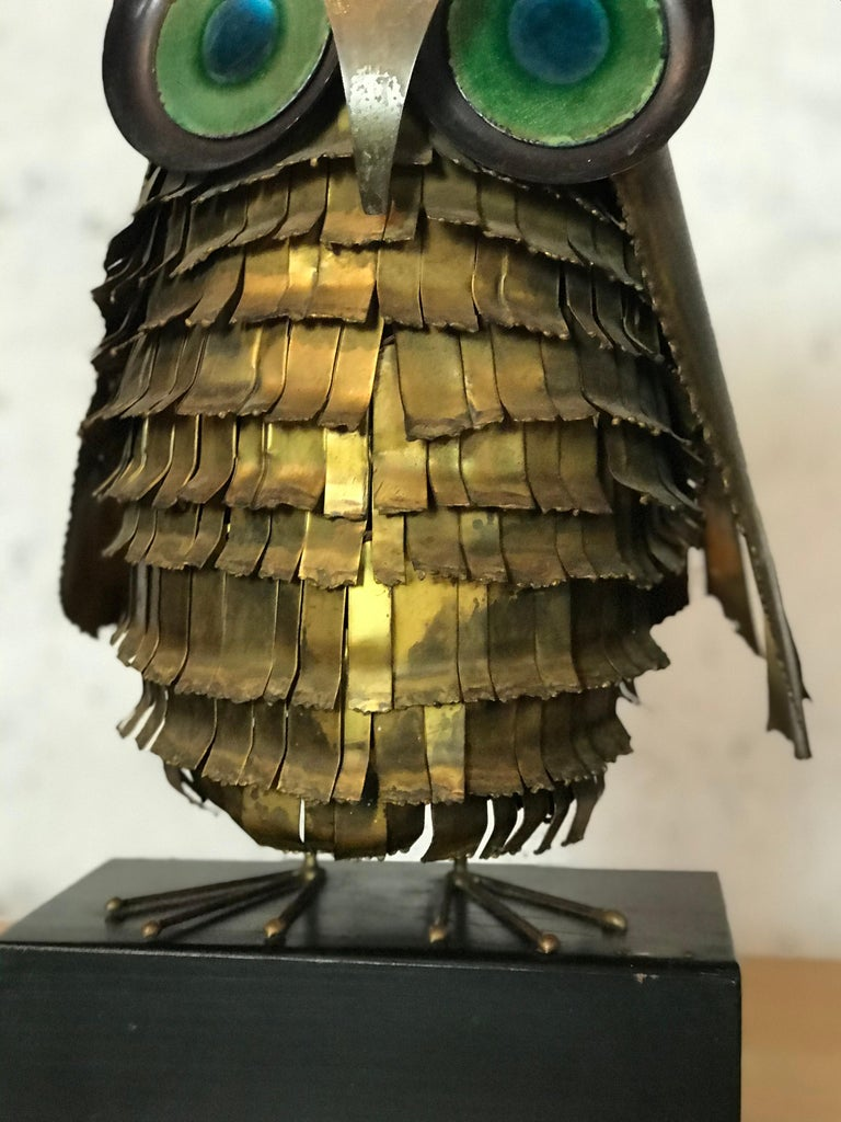 Mid-Century Modern Curtis Jere Large Owl Sculpture Signed, 1967 For Sale 6