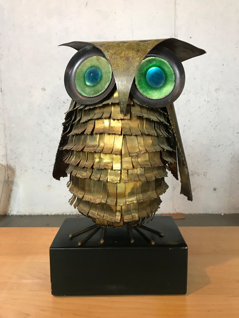 Mid-Century Modern Curtis Jere Large Owl Sculpture Signed, 1967 For Sale 7