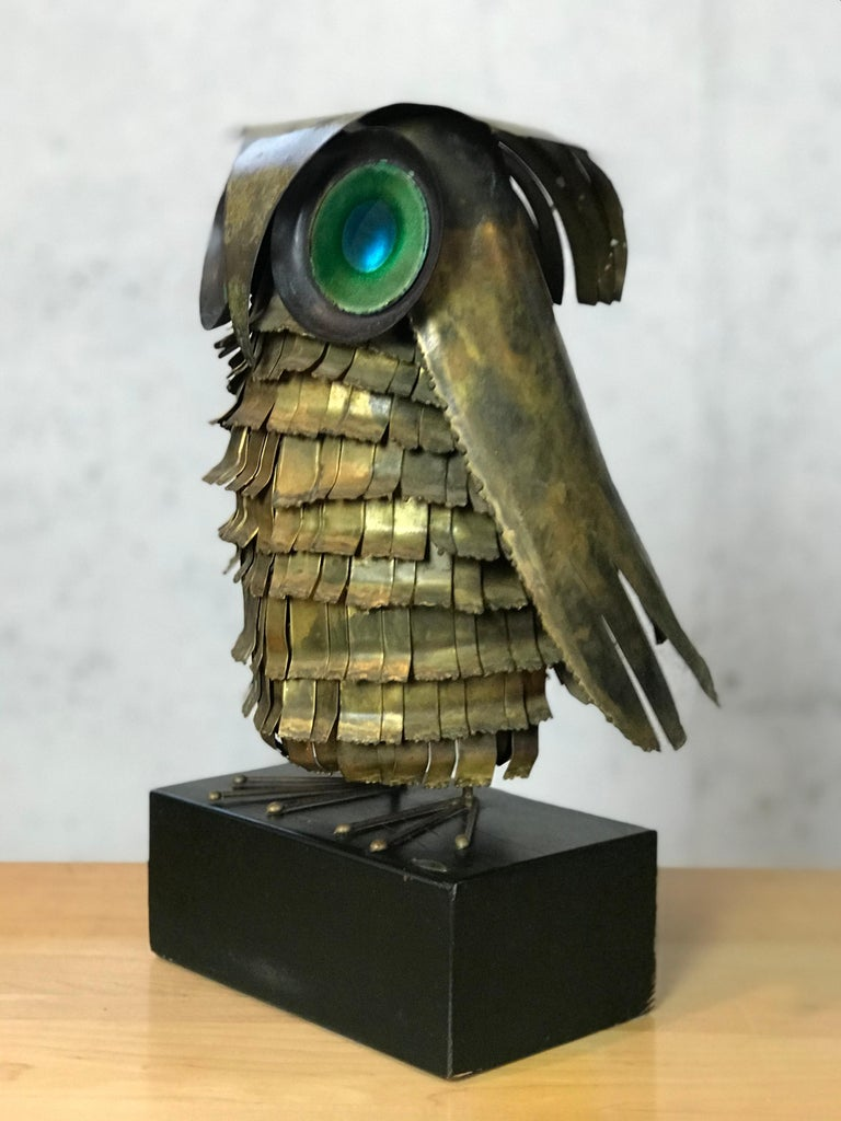 Mid-Century Modern Curtis Jere Large Owl Sculpture Signed, 1967 For Sale 11