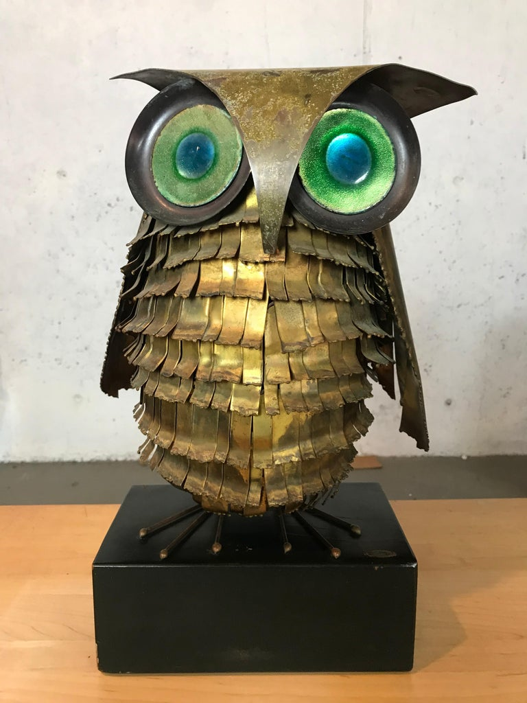 Mid-Century Modern Curtis Jere Large Owl Sculpture Signed, 1967 For Sale 12
