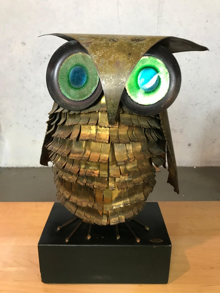 American Mid-Century Modern Curtis Jere Large Owl Sculpture Signed, 1967 For Sale