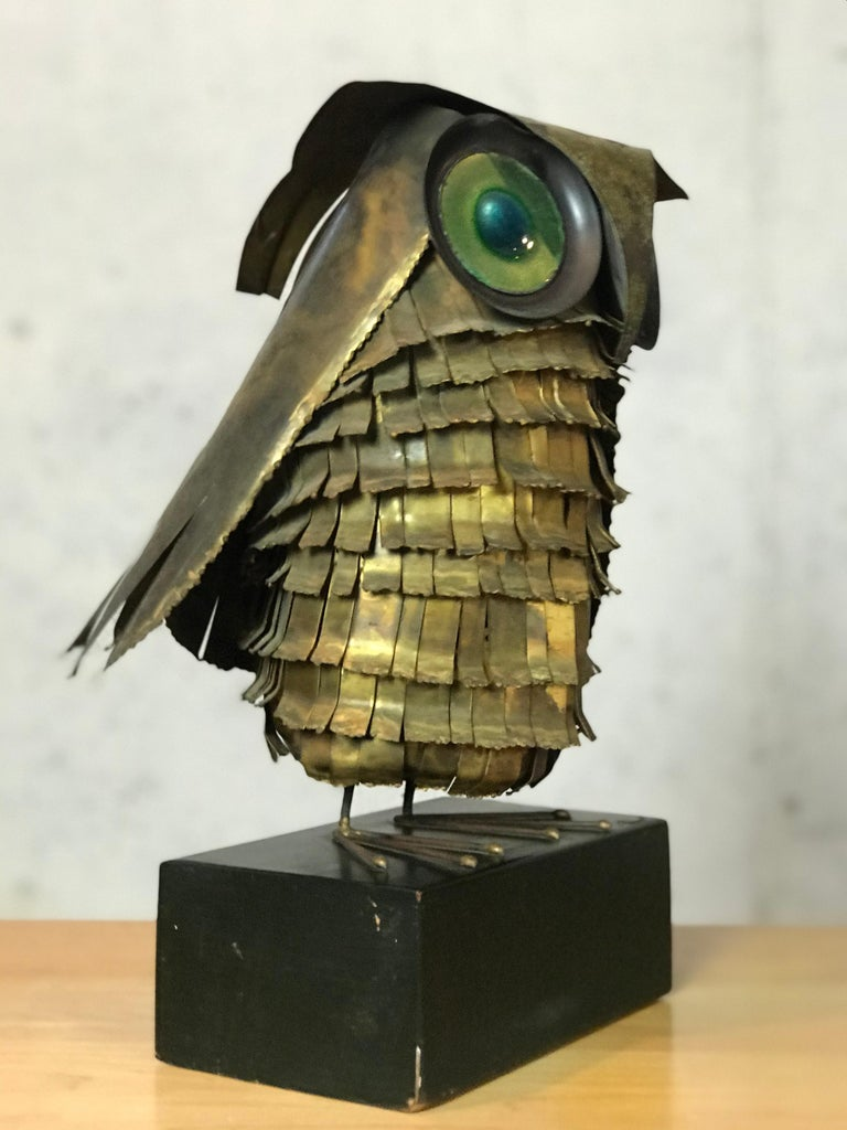 Mid-Century Modern Curtis Jere Large Owl Sculpture Signed, 1967 In Fair Condition For Sale In Framingham, MA
