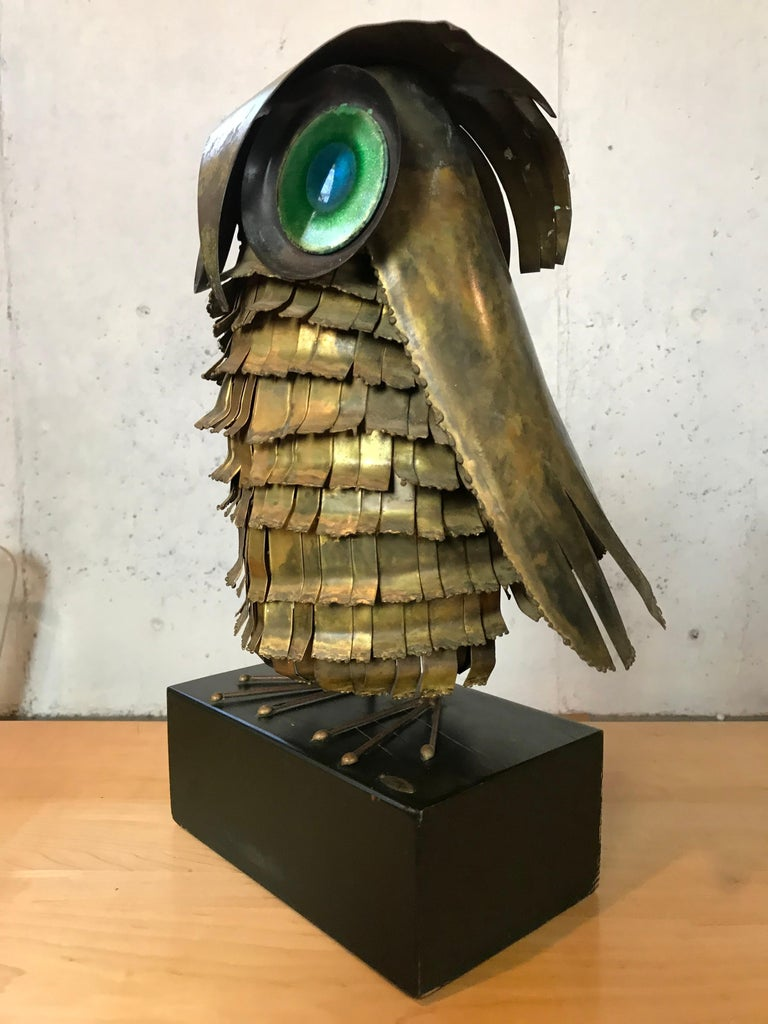 Mid-20th Century Mid-Century Modern Curtis Jere Large Owl Sculpture Signed, 1967 For Sale