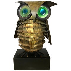 Mid-Century Modern Curtis Jere Large Owl Sculpture Signed, 1967