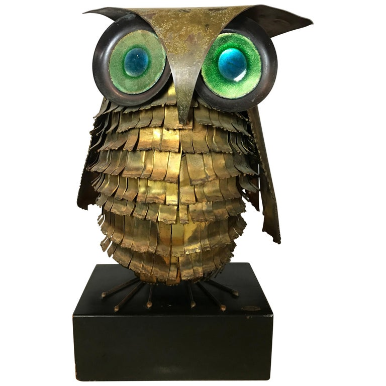 Mid-Century Modern Curtis Jere Large Owl Sculpture Signed, 1967 For Sale