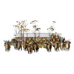 Mid-Century Modern Curtis Jere Signed Brass Wall Sculpture Stadium Fans, 1960s