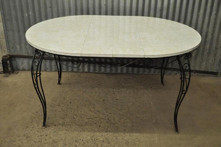 Mid-Century Modern Curule Wrought Iron Patio Dining Set Table Four Chairs For Sale 5