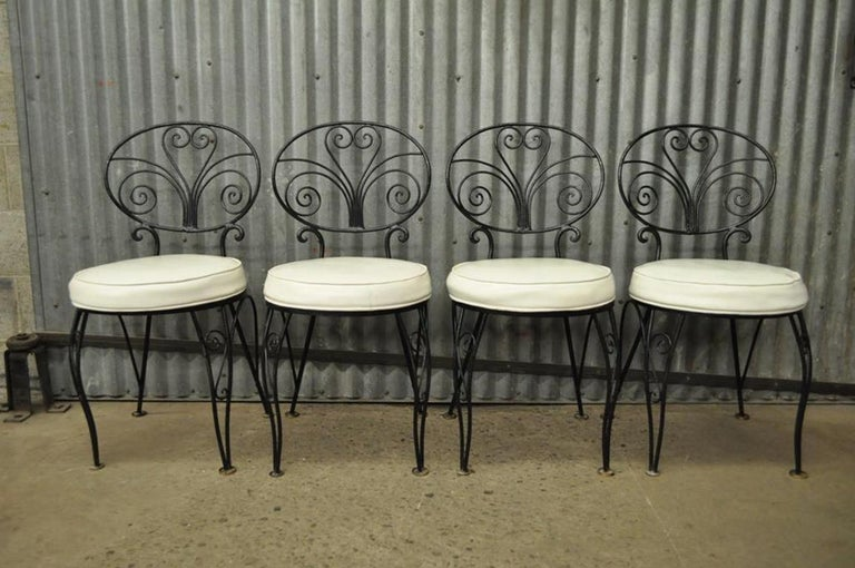 Mid-Century Modern Curule Wrought Iron Patio Dining Set Table Four Chairs For Sale 7