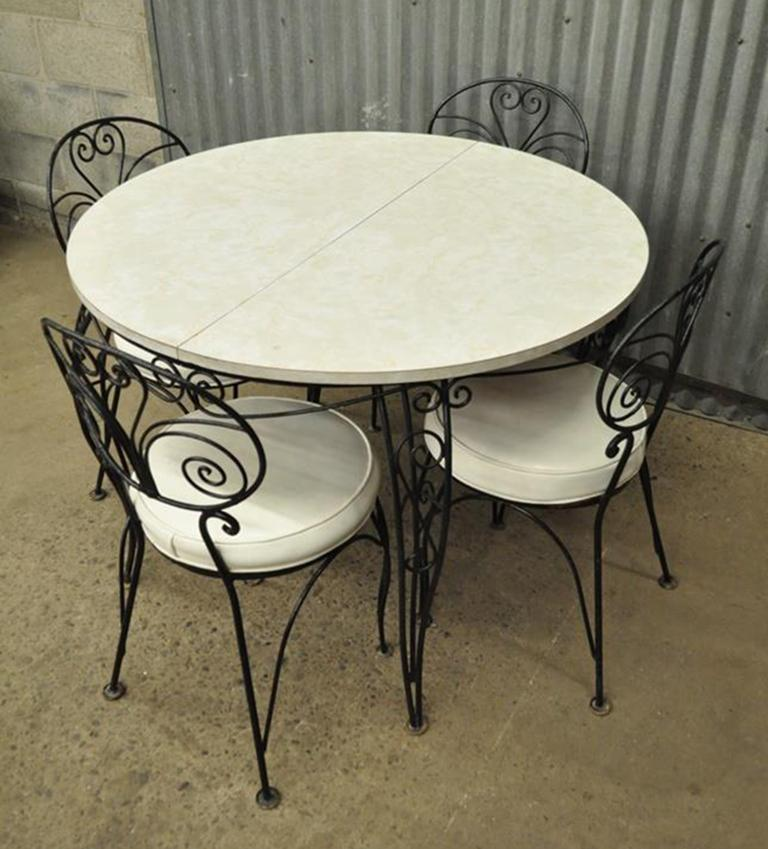 Mid Century Modern Curule Wrought Iron Patio Dining Set Table Four Chairs