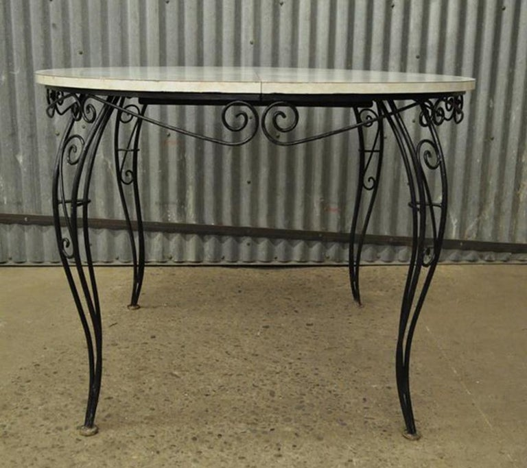 Mid-Century Modern Curule Wrought Iron Patio Dining Set Table Four Chairs For Sale 1