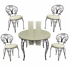 Mid-Century Modern Curule Wrought Iron Patio Dining Set Table Four Chairs