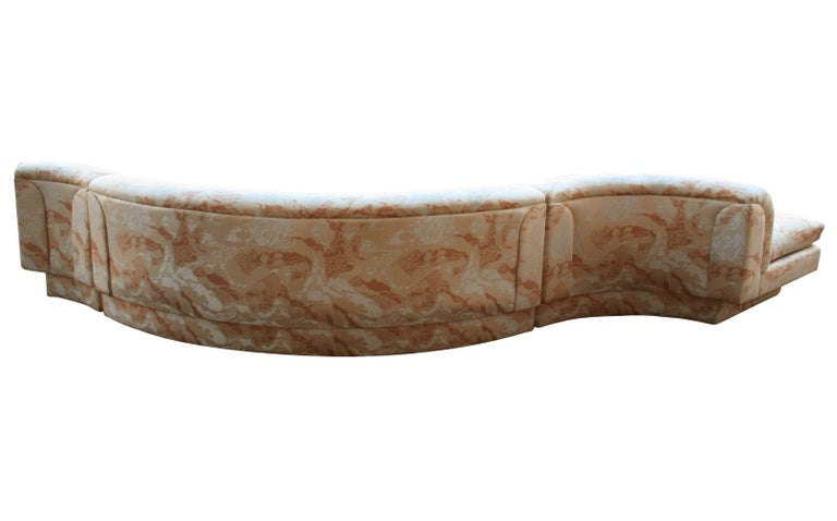 American Mid-Century Modern Curved and Sculptural Serpentine Sectional Sofa Plinth Base For Sale